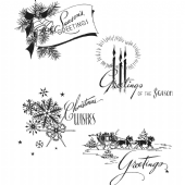 Stampers Anonymous Tim Holtz - Cling Mounted Stamp Set - Holiday Greetings – CMS353